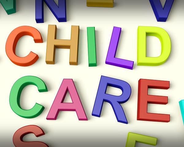 Child Care Written In Kids Letters